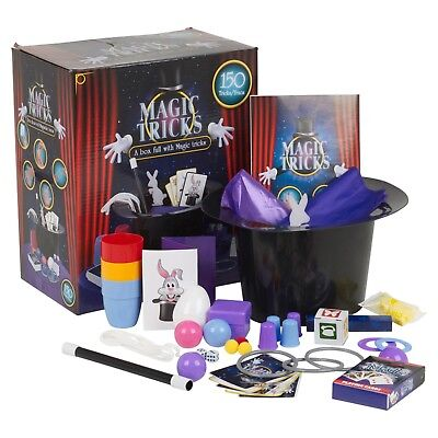 Kids Magic Set 150 Tricks with Instructions Magician Top Hat Rabbit Card Tricks