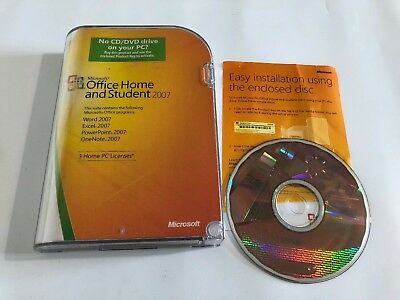 MICROSOFT OFFICE 2007 HOME AND STUDENT GENUINE: 3 Users Pre Owned