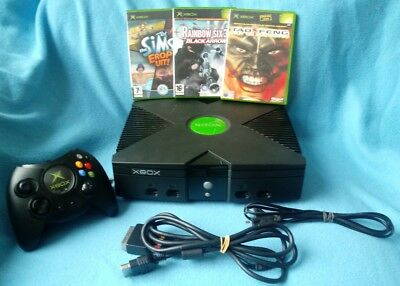 Microsoft Xbox Original console SOFT MOD 1 Controller 3 games   CLEANED