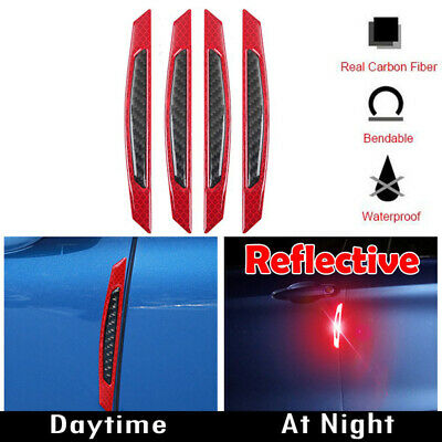 4pcs Safety Reflective Warning Strip Car Bumper Reflector Stickers Decals Red