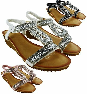 Womens  Beach Holiday Summer Sandals Ladies Sling Back Wedge Heel Comfy Shoes Sz
