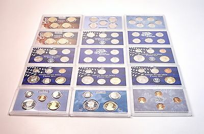 15 US Mint Proof Coin Sets Kennedy Liberty Nickels Dimes Pennies State Quarters