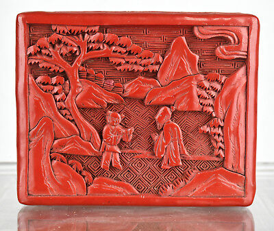 Vintage Oriental Asian Chinese Carved Red Cinnabar Lacquer Trinket Covered Box
