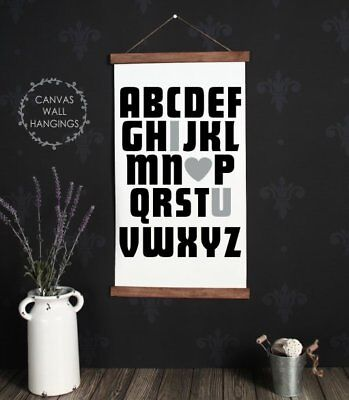 Wood Hanging Canvas Sign, ABC I Love You Baby Nursery Decor Wall Hanging Sign