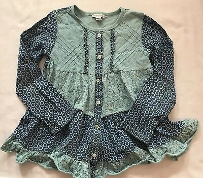 Naartjie Size 9 Years Blue Floral Polka-dot Button Tiered Ruffle Top Tee Shirt