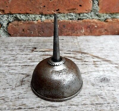Vintage Early Metal Singer Sewing Machine Oil Can Tin Pot Dispenser