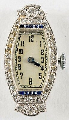 ART DECO  PLATINUM DIAMONDS SAPPHIRES 15 JEWELS LADIES WRISTWATCH Hidden Lugs