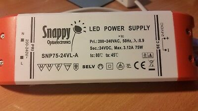 LED LIGHTBOX TRANSFORMER,MAXILUX  PSU-SNP75-24VL Power Supply 24VDC 3.12A 75W