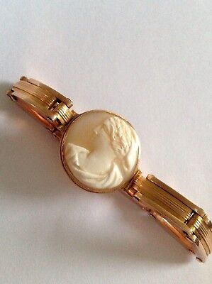 Fine Antique 15ct Rose Gold Expandable Carved Shell Cameo Set Bracelet