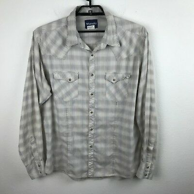 Vintage Wrangler Western Shirt Size XL Beige Gray Plaid Pearl Snap Long Sleeve