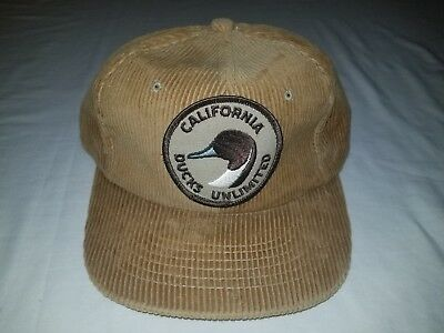 ed7bcf22a94 Ducks Unlimited Vintage Tan Corduroy Hat Cap Adjustable Snapback CALIFORNIA  EUC