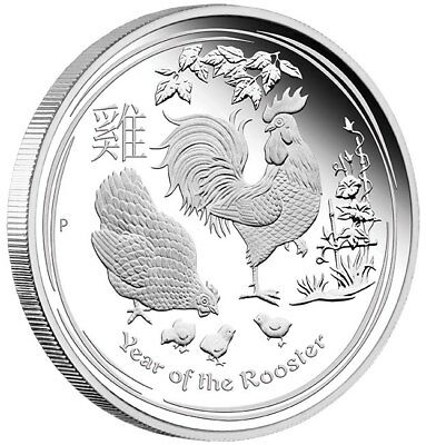 Year Of The Rooster - 2017 29.6ml Silber Beweis Münze - Perth Ungebraucht