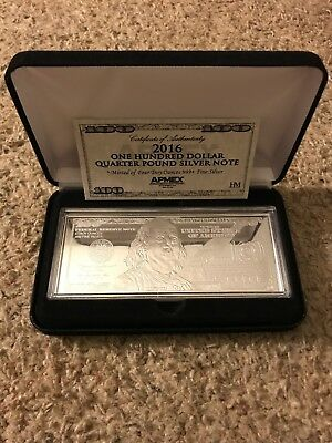 4 Troy Ounces .999 Silver Bar- 2016 One Hundred Dollar Quarter Pound Silver Note