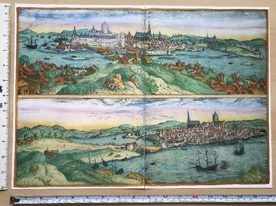 Old Antique  Map of Stockholm, Sweden: 1588 by Braun & Hogenberg REPRINT 1500's