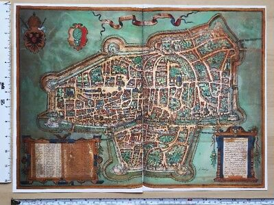 Antique Colour Map of Augsburg, Germany: 1563 Braun & Hogenberg REPRINT 1500's