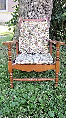 "Antique Vintage Wooden 1930's-40's? Child's Chair Maple Vintage Fabric 20"" Seat"