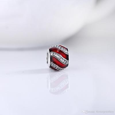 NEW AUTHENTIC PANDORA Sterling Silver Adornment Red & Clear CZ Charm 791991EN07