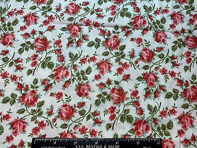 Vintage Cotton Fabric 40s50s SWEET Roses & Rosebuds 35w 1yd