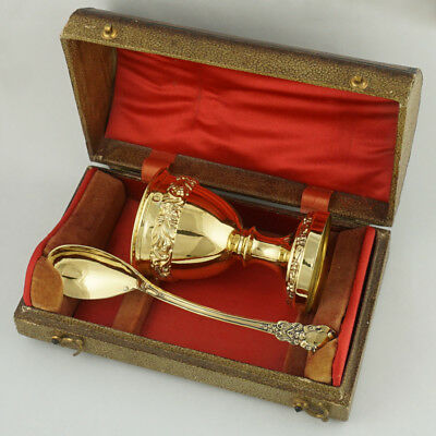 Antique French Sterling Silver Gold Vermeil Egg Cup and Spoon Breakfast Set, Box
