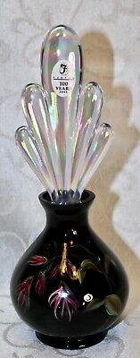 Fenton, Perfume with Stopper, Black Glass, Hand Decorated.