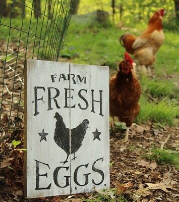 Fresh Eggs Sign Vintage Plaque Poultry Farm Ranch Hanging Wall Decor