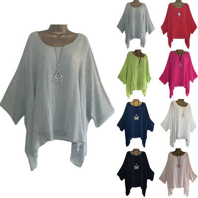 Women Plus Size Baggy Loose Blouse Batwing Sleeve Shirts Jumper Pullover Tops