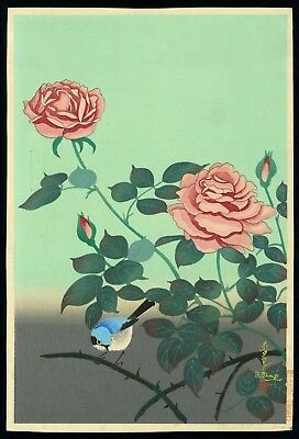 Bakufu Ohno Original JAPANESE OBAN WOODBLOCK PRINT - Rose and Bird