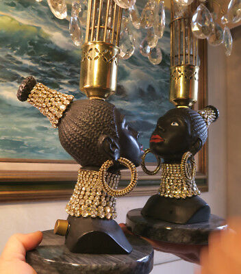 2 Vintage Jeweled Art Deco NUBIAN African Queen blackamoor Lamp Spelter Brass
