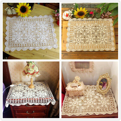 Vintage Hand Crochet Lace Doily Table Topper White Tablecloth Cover 15x23inch