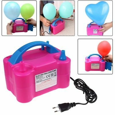 Portable 600W Dual Nozzle Electric Balloon Pump Inflator Air Blower Party UK