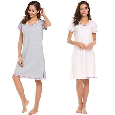 Women O-Neck Short Sleeve Nightgown Lounge Dress Sleepwear WST