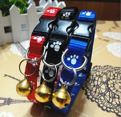 1cm Wide Paws Print Nylon Small Puppy Kitten Kitty Cat Collar with Bell 1PC