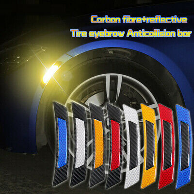 2Pcs Carbon Fiber Car Auto Warning Decal Strips Safety Tape Reflective Stickers