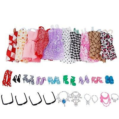 30pcs/Set Dress Shoes Necklace Glasses Clothes For 12 in. Dolls Toys Accessories