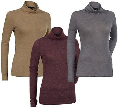 Ladies Womens High Roll Polo Turtle Neck Long Sleeve Top Light Jumper Plus Size