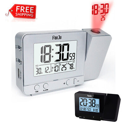 Projection Digital Weather LCD Snooze Alarm Clock LED Temperature Time 12H/24H