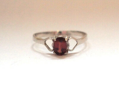 Antique Solitaire 925 Sterling Silver Band Ring Heart Red Ruby Multiple Sizes