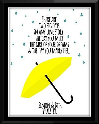 How I met your mother umbrella couples marriage anniversary gift art print decor