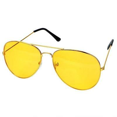 Night Driving Glasses HD Anti Glare Yellow Lens Tinted Pilot style + free Pouch