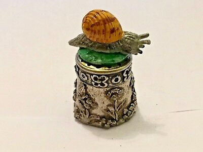 "A most unusual English Hand Painted Pewter Thimble of a "" Garden Snail""."