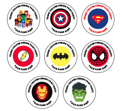 N177 Personalised Spiderman Hero 37mm Birthday Stickers Party Thank You seals