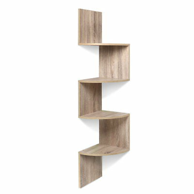 Artiss 4 Tier Zig Zag Corner Wall Display Shelf Floating Oak - DZ-457