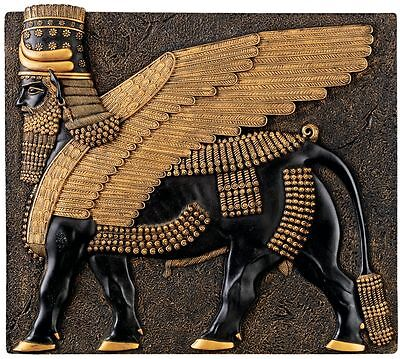 Egyptian Palace of Khorsabad Replica Ebony and Gold Winged Bull Wall Sculpture