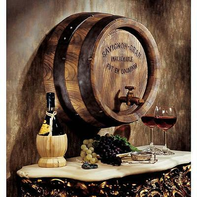 French Vineyard Savignon-Oran Vintage Style Wine Barrel & Spigot Wall Sculpture