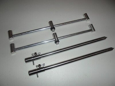 2 TMC Stainless Steel Bank Sticks 30-50 cm's and 2 x 3 rod 30cm Ali Buzz Bars