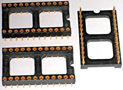 """24 pin DIL socket, Low profile, 0.6"""" x 0.1"""" pin pitch, machined gold pins"""