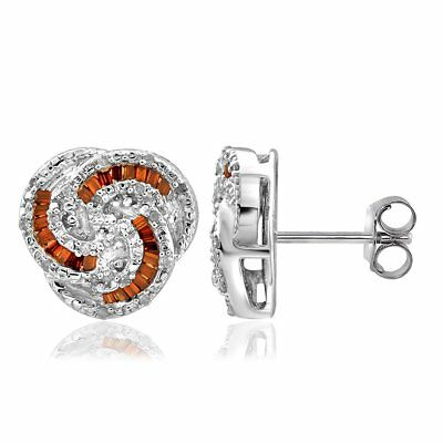 Jewelonfire Sterling Silver 1/4ct TDW Red and White Diamond Earrings