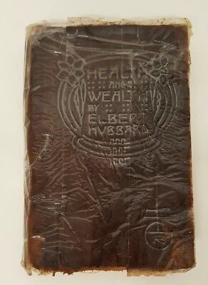 1908 Health & Wealth Elbert Hubbard Book Antique 1900s Leather Roycroft Distress