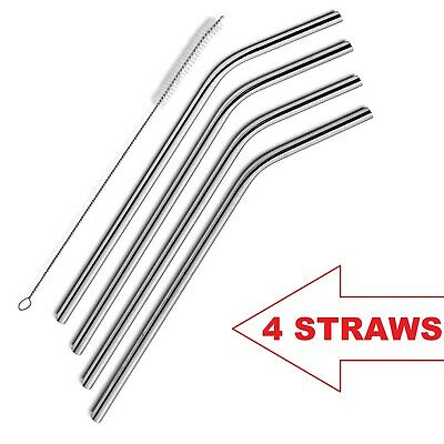 4 Set of Straight Reusable Drinking Straws Metal Stainless Eco-Friendly 10.5in