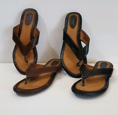 d6db881eee5 BOC Born womens size 9 Sandals Slip On Thong Flip Flops Black Brown Lot of 2